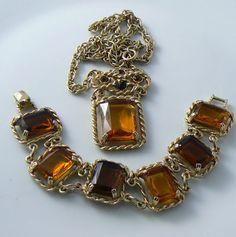 Vintage Sarah Coventry Wild Honey Amber Necklace & Bracelet Set Unique vintage, antique, costume