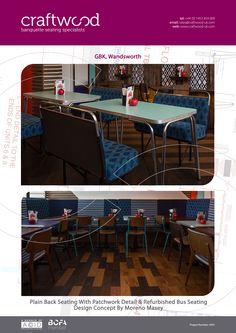 #plainback #patchwork #refurbished #bus #craftwood #gbk #banquette #seating #restaurant #wandsworth