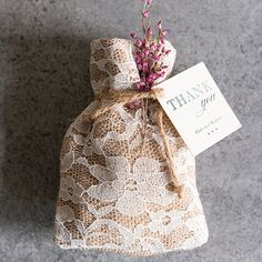 Rustic Chic Burlap And Lace Drawstring Favor Bag. Save 15% right now. Use promo code MWS15.