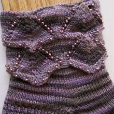Knit Sock Pattern:  Beaded Cuff Knitted Sock Pattern. $6.25, via Etsy.