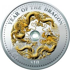 DRAGON Pearl Lunar Year 1 Oz Silver Coin 10$ Fiji 2012