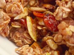 "Homemade Cranberry Nut Granola from ""Giada At Home"" show. Saw her make it and it looked awesome. I am making this but with dried mixed berries (use what you have in your pantry!)."