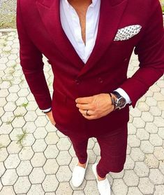 Red Double Breasted Mens Suits With Pants New Costume Homme Slim Fit Wedding Groom Casual Business Terno Masculino(Jacket+Pants) Terno Slim Fit, Slim Fit Suits, Slim Fit Tuxedo, Mens Fashion Blazer, Suit Fashion, Runway Fashion, Gentleman Fashion, True Gentleman, Fashion Sale