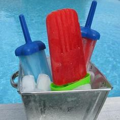 Ice Pops  THESE ARE EASY AND IN 4 HRS. YOU WILL BE PLEASED. AND THE UNLIMITED SELECTIONS. MIX YOUR OWN. IF YOU DON'T HAVE THE MOLDS MAKE YOUR OWN WITH A PAPER CUP AND POPSICLE STICKS OR EVEN A PLASTIC SPOON WILL DO... ENJOY