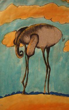 Drawing of Salvador Dali's Elephant by an art student at Georgetown Elem. Kandinsky, Klimt, Matisse, 4th Grade Art, Grade 2, Salvador Dali Art, Time Painting, Elementary Art, Famous Artists