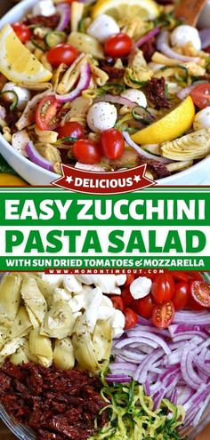 This delicious Zucchini Pasta Salad is a glorious combination of fresh mozzarella, sun-dried tomatoes, artichokes, tomatoes, red onions, and zucchini spirals. This best summer salad is also a great 4th of July salad idea! Zucchini Side Dishes, Easy Zucchini Recipes, Easy Asian Recipes, Zucchini Pasta, Side Dish Recipes, Easy Dinner Recipes, Healthy Zucchini, Healthy Recipes, Simple Recipes