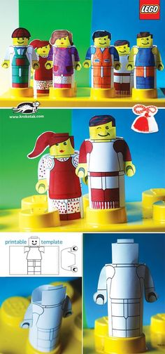 Create paper lego people with these free printable templates!