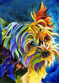 Yorkshire Terrier DOG print by Artist Sherry Shipley Dog Pop Art, Dog Art, Arte Pop, Yorkshire Terrier, Animal Paintings, Pet Portraits, Fine Art America, Images, Art Prints