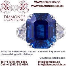 18.50 ct emerald-cut natural Kashmir sapphire and diamond ring set in platinum.  #DiamondClub & #GemClub #Appraiser #Appraisal #Diamond #Gemstones #Jewelry #Watch #Antiques #Pearl #Ruby #Sapphire #Emerald #Gold #Silver #Platinum #Palladium #Luxury #Earrings #Ring #Bracelet #Pendant #Necklace #Brooch #Wedding #Anniversary #Valentine