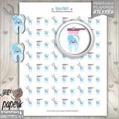 Dentist Stickers, Planner Stickers, Tooth, Appoinment, Health, Kawaii Stickers, Planner Accessories, Printable Stickers, Dentist