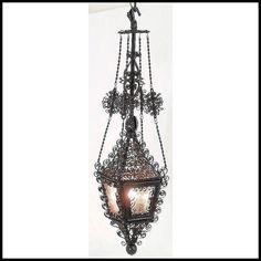 Antique Moorish Bent Iron Kerosene Hanging Light - Amethyst Glass - Electrified