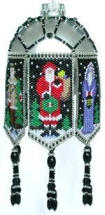Santa Trio Ornament by Deb Moffett-Hall aka Patterns to Bead Even count peyote panels feature 3 different Santa designs. Victorian in long hooded robe, Traditional in red suit, & Frontiersman in buckskin and cap. Complete, illustrated, step-by-step instructions for peyote stitch and ornament assembly. Delica color numbers listed. Sized to fit the larger 2 5/8 ornaments