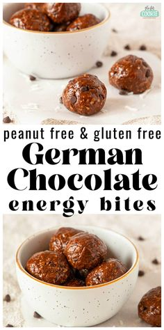 Our German Chocolate Energy Bites make a super quick snack that's perfect for packing for lunches or travel. These energy bites combine the best parts of a German chocolate cake into a quick snack, and they're top 8 free! These are dairy free, gluten free, vegetarian, and peanut free #ad | thefitcookie.com Easy Appetizer Recipes, Healthy Dessert Recipes, Snack Recipes, Healthy Snacks, Breakfast Recipes, Vegetarian Recipes, Chocolate Mug Cakes, German Chocolate, Chocolate Recipes