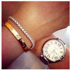 CARTIER gold LOVE bracelet, diamond tennis bracelet and Cartier timepiece. Bracelet Cartier, Cartier Jewelry, Jewellery Uk, Diamond Bracelets, Love Bracelets, Bracelet Watch, Pandora Bracelets, Bangle Bracelet, Pandora Diamond Bracelet