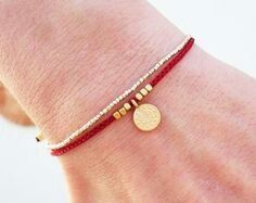 Little Red String bracelet with beads