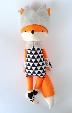 EINAR the fox. made-to-order. eco toy. gift for children. stuffed fox. textile fox. kids room decorative fox.
