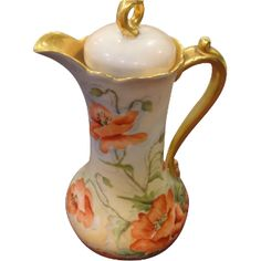 Limoges Poppy Marked Chocolate Pot