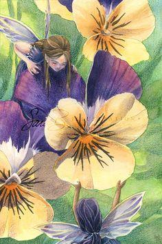 Flower Fairy Art Print Sisters Best Friends  door sarambutcher
