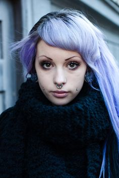 Pastel Purple hair! Not at all a fan of cheek piercings though