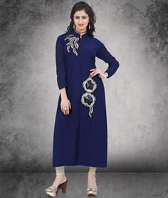 Shop Blue Georgette Long Readymade Kurti 77015 online at best price from vast collection of designer kurti at Indianclothstore.com.