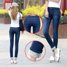 6特大のジーンズ女性モデル2カフ着用ジーンズ女性カジュアルなズボン鉛筆パンツジーンズ女性のハイウエストのジーンズプラスサイズ