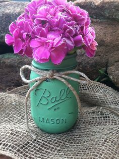 Mint Green Mason Jar for Vase  Etsy $12.00 The Mustard Seed