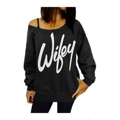 Black Skew Neck Letter Pattern Woman Sweats ($19) ❤ liked on Polyvore featuring tops, hoodies, sweatshirts, black, long sleeve sweatshirt, pullover sweatshirts, black pullover sweatshirt, long sleeve pullover and print sweatshirt