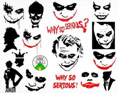 SALE - Joker svg cut files - Why so Serious svg Joker cricut files - Joker silhouette - Joker clipart files - svg, dxf, eps, png - Joker Face Tattoo, Batman Tattoo, Joker Tattoos, Game Tattoos, Der Joker, Joker Art, Harley Quinn Tattoo, Joker And Harley Quinn, Why So Serious Tattoo