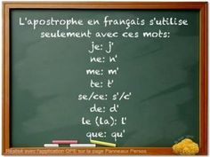 only words to take apostrophes Language Study, French Language, Language Arts, French Teacher, Teaching French, How To Speak French, Learn French, French Practice, Idiomatic Expressions
