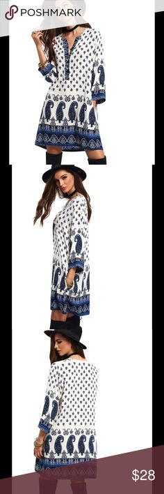 Fall Long Sleeve Boho Dress Above knee,V neck,Geometric pattern, polyester fabric, beautiful dress,if you want a different size, I can order. Comes 2-3 weeks👍 Dresses Mini