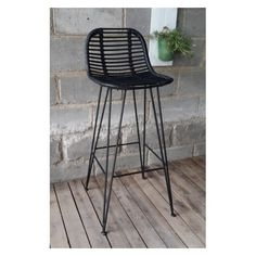 hk living tabouret de bar en rotin noir hk living tabouret bar et tabourets de bar. Black Bedroom Furniture Sets. Home Design Ideas