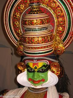 Face of a Kathakali dancer from Cochin in Kerala