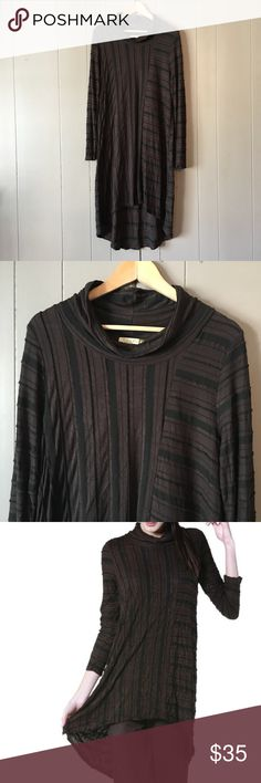 "Chalet Crinkle Ripple Tunic in Coffee  Beautiful, brand new tunic! Armpit to armpit is 19"". Length in the front is 37"". Length in the back is 46"". Offers are welcome. ☺️ Chalet Tops Tunics"