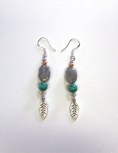 Labadorite Malachite Earrings by SKULLPTRESS on Etsy, $32.00