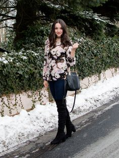 OTK Boots and Floral for a Winter Date Night Outfit - Countdown to Friday