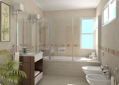 como-decorar-banos-pequenos6 Ideas Baños, Ideas Para, Bathroom Layout, Sweet Home, Bathtub, Mirror, Interior Design, House, Furniture