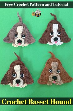 Get a free crochet pattern of this cute crochet basset hound dog at Kerri's Crochet, along with many other crochet animals. #CrochetDog #CrochetAnimals
