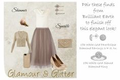 Glamour & Glitter Style Board - tulle skirt tutu skirt cowl neck nude heels gold accessories #brilliantearth diamonds via Life is {Sew} Daily