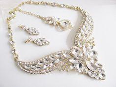 Gold tone Bridal Statement Necklace Set, Wedding Jewelry Set, Vintage Inspired Necklace, Rhinestone Necklace, Bridal Necklace by weddingswithflair on Etsy
