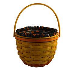 Longaberger 1995 Medium Pumpkin Basket with Fabric Liner and Plastic Protector