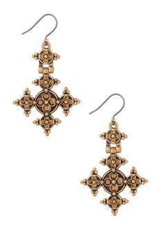 Lucky Brand Golden Stone Cross Earrings
