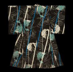 Summer Kimono. Early-Showa period (1927-1940), Japan.  The Kimono Gallery.  An hitoe (unlined) silk summer kimono featuring woven carp jumping in a turbulent water.