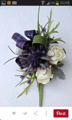 Pattern for my 2015 Prom: Spiky Thistle, Rose & Heather Corsage, wedding flowers, kilts. Tartan Wedding, Floral Wedding, Wedding Flowers, Kilt Wedding, Wildflowers Wedding, Celtic Wedding, Our Wedding, Dream Wedding, Flower Corsage