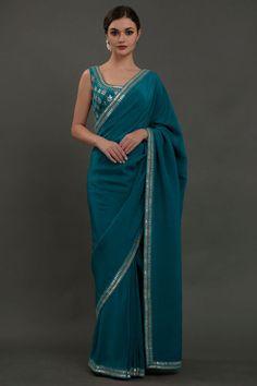 Oceanside Blue Hand Embroidered Gota Patti Saree Pure Georgette Sarees, Crepe Saree, Satin Saree, Saris, Gota Patti Saree, Eid Outfits, Saree Border, Simple Sarees, Blue Saree