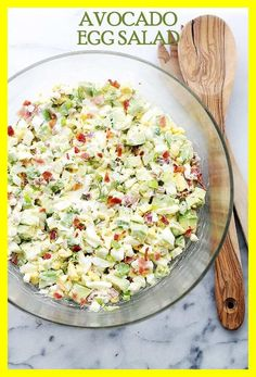 Apr 2020 - Dec 2019 - This easy Avocado Egg Salad Recipe is healthy & delicious! A mayo-free egg salad with avocados, crunchy bacon, green onions, dill, lime juice and yogurt. Ketogenic Recipes, Low Carb Recipes, Diet Recipes, Cooking Recipes, Healthy Recipes, Ketogenic Diet, Flour Recipes, Burger Recipes, Egg Recipes