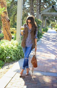 Fall gingham and vest