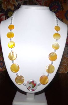 Butterfly Yellow Shell and Pearl Necklace by MimisCreation on Etsy