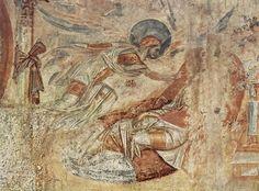Master of Castelseprio The Dream Of Joseph Santa Maria foris portas Century fresco Santa Maria, Tempera, Fresco, Joseph Dreams, Greek Islands Vacation, Carolingian, Life Of Christ, Byzantine Art, Medieval Art