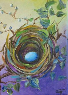 egg nest painting, bird nest painting, acrylic painting, nest acrylic painting Title Tomorrow is a new day Intimate acrylic painting on stretched canvas size 5x7x.5 I use only high grade acrylic paint so you can enjoy the painting for a lifetime. Painted edges, frame is not necessary,