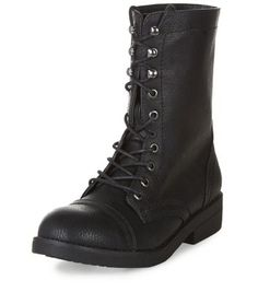 Black Leather-Look Lace Up Boots